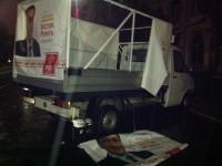 Plângere penală: Autovehicul de campanie al PSD Dâmbovița, vandalizat în fața sediului (foto)