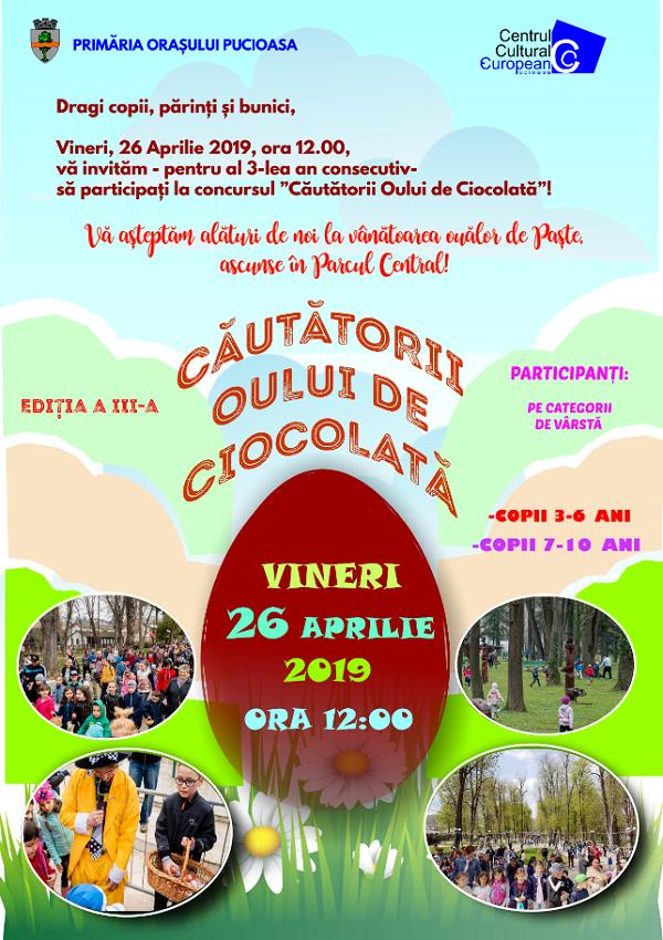 """Aventura continuă la Pucioasa: """"Căutătorii Oului de Ciocolată"""" se întrec din nou în Parcul Central al orașului!"""