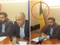 FOTO: Deputatul Bogdan Diaconu a înlăturat steagul UE din conferința de presă de la Târgoviște!