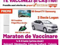 Maraton de vaccinare cu premii oferite de SOCERAM – CEMROM (mașini, televizoare, combine frigorifice, fiare de călcat) / DETALII